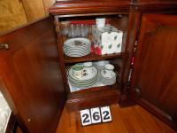 Misc. Glassware, Dishes, & Tableclothes etc. (Bottom of China Cabinet)
