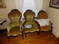 3 Queen Anne Chairs. (Chair on left and in middle are a match to the Queen Anne Sofa Lot 271)