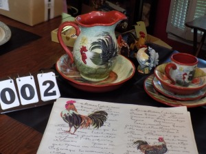 Certified International by Susan Wingrets- Rooster * 8-4 piece place settings, Large Bowl, Pitcher, Misc. Rooster Items