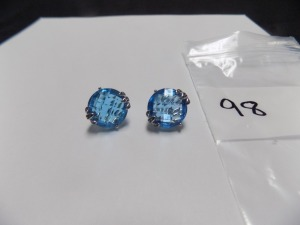 Pair of 14 Karat White Gold Clip-On Earrings With Omega Backs Holding a Round Checkerboard Faceted London Blue Topaz and Fourteen Small Diamonds in Each; Earrings Weigh 6.5 Grams and are in Excellent Condition