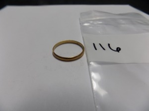 One 18 Karat Yellow Gold 2-1/2 mm Wide Wedding Ring which Weighs 1.3 Grams and is in Very Good Condition.