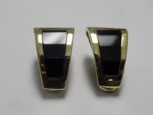 "Pair of 14 Karat Yellow Gold 22 mm Long ""J"" Hoop Clip-on Earrings with Inlaid Black Onyx Fronts; the Earrings are in Excellent Condition and Weigh 7.0 Grams."