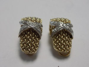 "Pair of 14 Karat Yellow Gold 24 mm Long Mesh ""J"" Hoop Clip-on Earrings which each hold Nine Small Diamonds in a White Gold ""X"" in the Center; the Earrings Weigh 9.3 Grams and are in Excellent Condition."