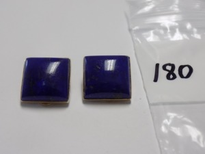 Pair of 14 Karat Yellow Gold 17 mm Square Clip-on Earrings with a Square Blue Lapis in Each; they Weigh 5.4 Grams and are in Excellent Condition.