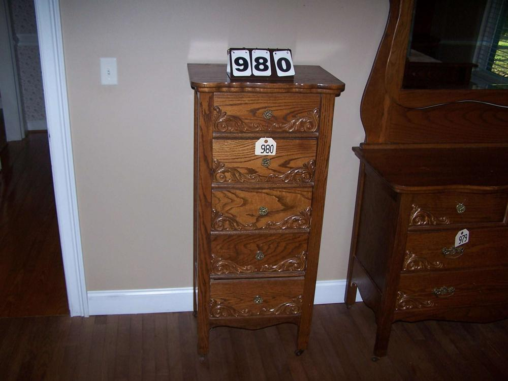 Lot 980 Of 78 5 Drawer Solid Oak Chest 22 Wide 48 Tall