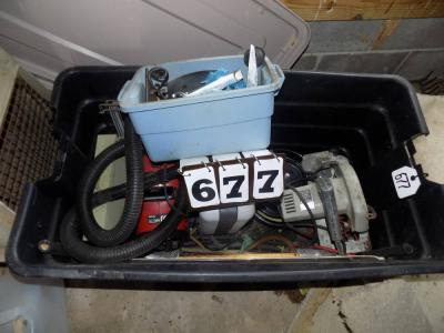 Tote w/ saw, vacuum, heater, sander, buffer